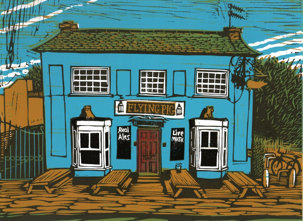Linocut of the Flying Pig pub in Cambridge