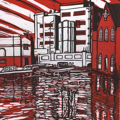Linocut of a lock in Camden Town with the old bread factory