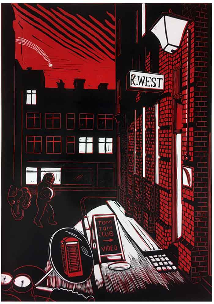 Linocut of London backstreet