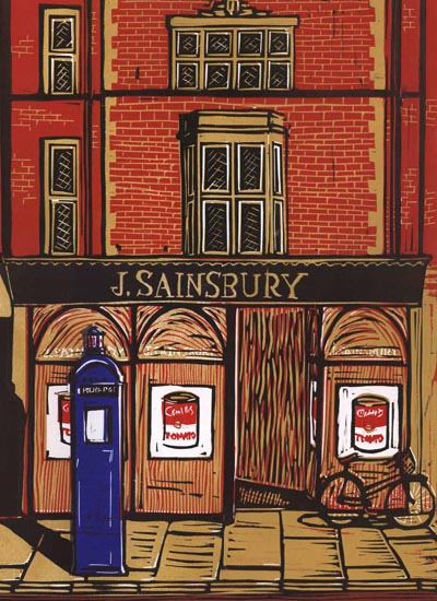 Linocut print of the old Sainburys in Cambridge with a Tardis like police post in the foreground