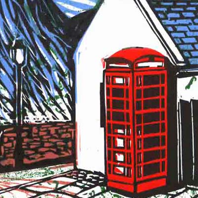 Linocut of telephone box