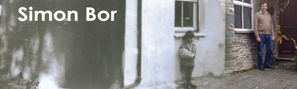 Black and white picture of young Simon Bor outside a cottage fading into his adult self in colour