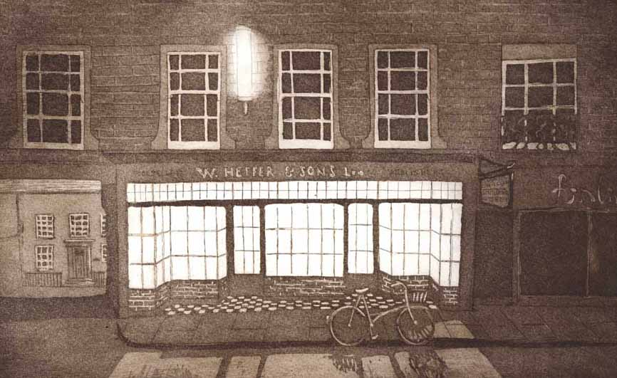 Etching of the old Heffers bookshop in Cambridge