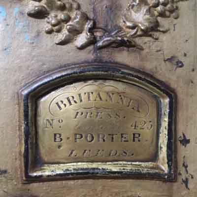 Name plate on old printing press