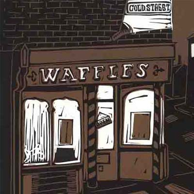 linocut of old Wafles café