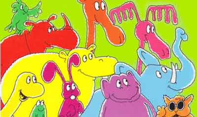 Brightly coloured animals