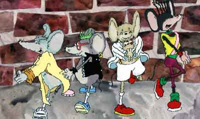 Cartoon mice against brick wall